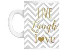 Faux Gold Foil Live Laugh Love Mug