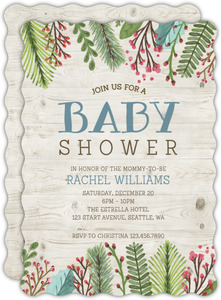 Woodgrain Holiday Leaves Baby Shower Invitation