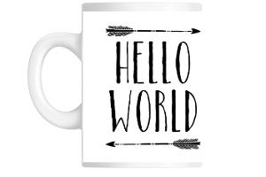 Rustic Black Arrows Hello World Mug