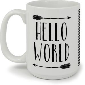 Rustic Black Arrows Hello World Coffee Mug