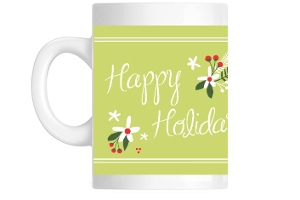 Green And Red Festive Flowers Coffee Mug