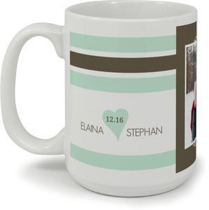 Mint And Brown Soft Stripes Custom Mug