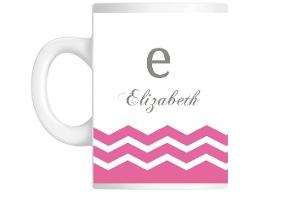 Pink Monogram Chevron Mug