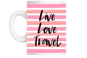 Pink Striped Watercolor Travel Custom Mug