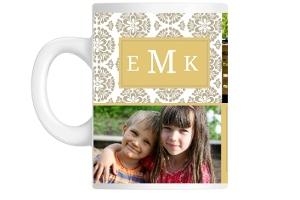 Golden Monogram Floral Photo Mug