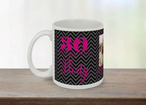 Black and Pink Flourish Thirty and Flirty Mug