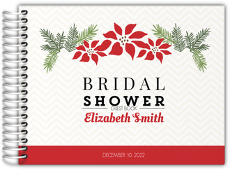 Poinsettia And Chevron Bridal Shower Guest Book