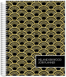 Gold Glitter Art Deco Custom Planner 8.5x11