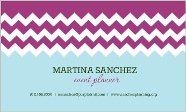 Purple and Blue Chevron Pattern Business Card