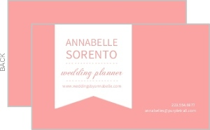Pink And White Banner Business Card