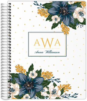 Beautiful Modern Blue Floral Planner 8.5x11