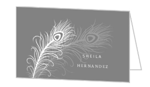 Gray Peacock Feather Folded Business Card