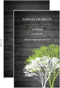 Rustic Green And Grey Tree Business Card