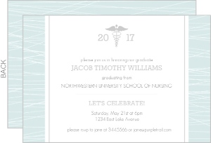 Blue Striped RN Invitation