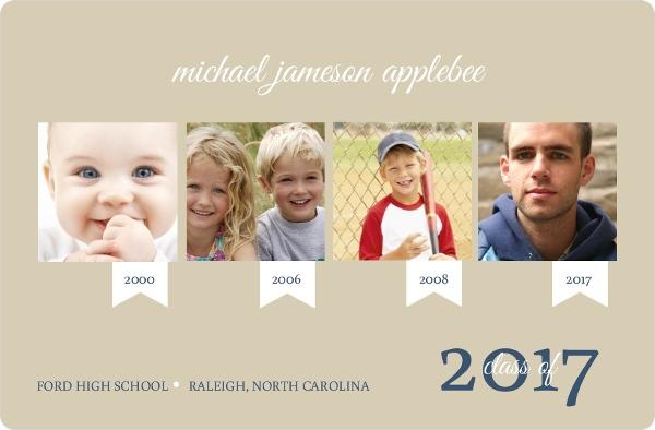 Taupe Timeline Graduation Announcement