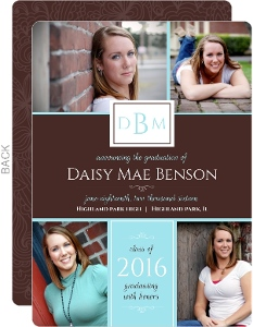Monogram Brown Stripe Graduation Announcement