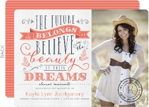 Vintage Coral and Blue Quote Graduation Announcement