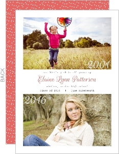 Pink Polka Dots Modern Now and Then Graduation Announcement