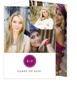 Purple Initials Monogram Graduation Announcement
