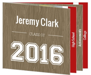 Wood Grain Red Accents Graduation Announcement