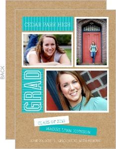 Turquoise Kraft Paper Graduation Announcement
