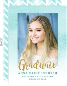 Aqua Watercolor Chevron Graduation Announcement