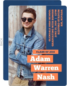 Orange and Blue Bar Modern Graduation Announcement