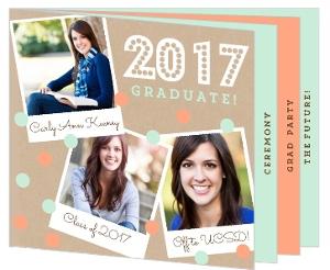 Coral Polaroid Graduation Invitation