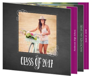 Chalkboard and Purple Graduation Announcement