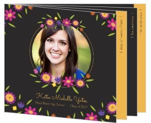 Slate Floral Graduation Invitation