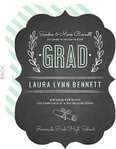 Chalkboard Mint Green Floral Graduation Announcement