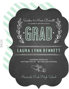 Chalkboard Mint Green Floral Graduation Announcement