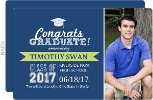 Modern Blue Graduation Announcement
