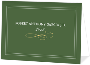 Formal Green and Gold Law Graduation Announcement