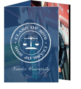 Navy Grunge Scale Monogram Law Graduation Invitation