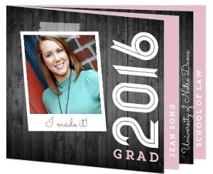 Gray Woodgrain and Pink Graduation Invitation