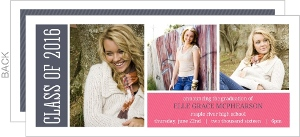 Blue and Pink Stripes Graduation Announcement
