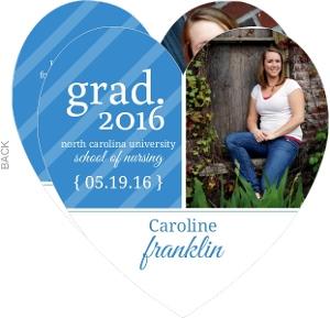 Blue Stripe Heart Graduation Announcement