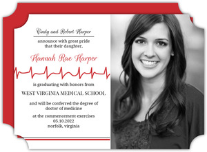 Red Heartbeat Line Graduation Announcement
