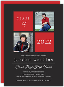 Gray and Red Graduation Announcement