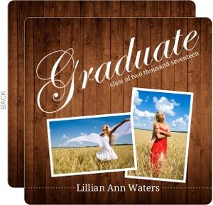Wood Grain Photo Graduation Announcements