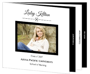 Simple Black and White Nursing Graduation Announcement