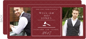 Maroon and White Gavel Law School Graduation Annoucement