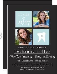 Gray and Light Blue Blocks Dentist Graduation Announcement