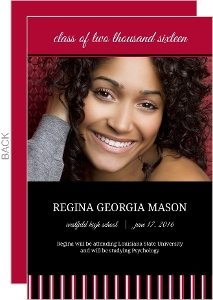 Red and Black Stripe Graduation Announcement