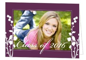 Purple Floral Graduation Announcement