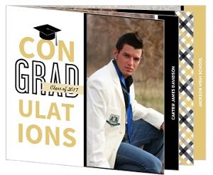 Black and Gold Gingham Graduation Invitation