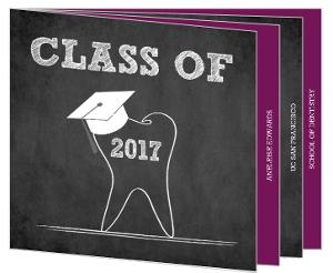 Chalkboard Tooth Dental Booklet Graduation Invitation