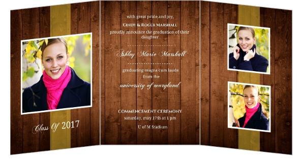 Rustic Wood Trifold Graduation Announcement – Tri Fold Graduation Invitations