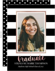 Black and White Stripes Graduation Announcement